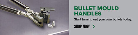 Bullet Mould Handles displayed on reloading bench