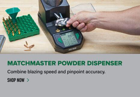 Matchmaster Powder Dispenser displayed on reloading bench
