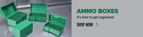 Ammo Boxes displayed on reloading bench