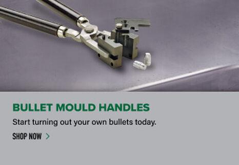 Bullet Mould Handles displayed on reloading bench