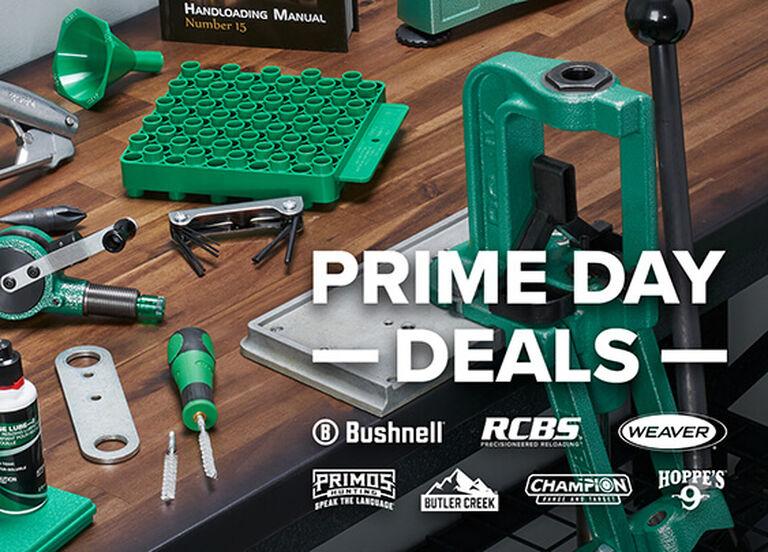 RCBS Rebel Press on bench, Prime Day Deals on Bushnell, RCBS, Weaver, Primos, Butler Creek, Champion, and Hoppe's