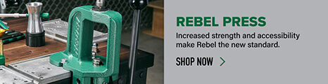 Rebel Press displayed on reloading bench